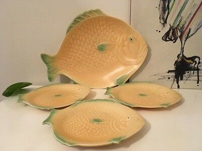 Iconic Art Deco Shorter and Son Fish Plate Set c1930s - 4 x Pieces