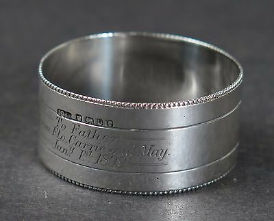 Silver napkin ring with dedication to Father from Children