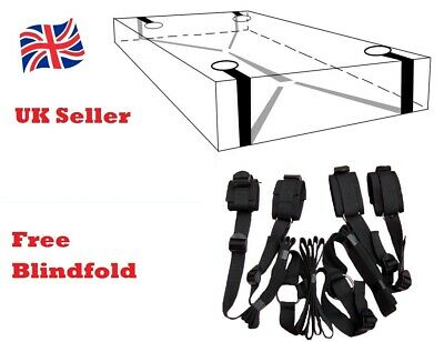 Dungeon Bed & Wheel Restraint Straps System, Easy Tied Wrist Ankle Cuffs + Whip