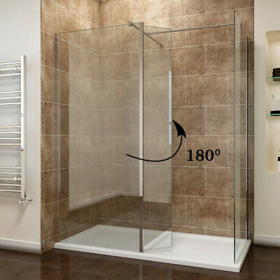 WALK IN WET Room Shower Enclosure Black Screen Cubicle Tray + Glass ...