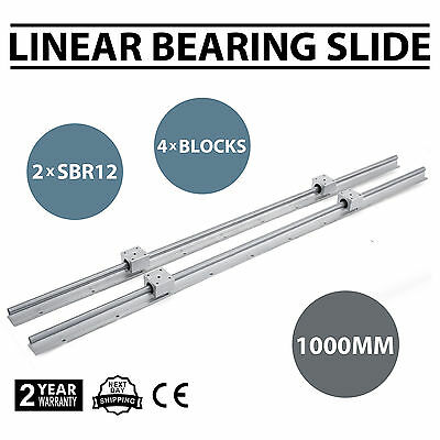 2xSBR12-1000mm Linear Rail Slide Guide Rod+4SBR12UU Block Unique Mills 12mm