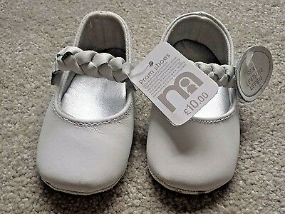 BNWT white real leather pram shoes size 2 Mothercare