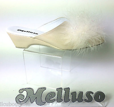 Melluso Pantofole Donna Sposa Pelle Colore Avorio Zeppa H 4 Cm Made In Italy
