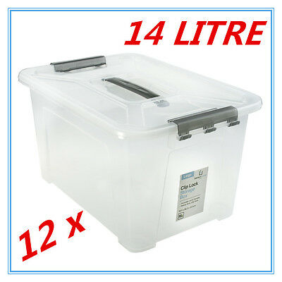 12 x Large 14L Clip Lock Clear Plastic Storage Carry Box Handle Container Tub FD