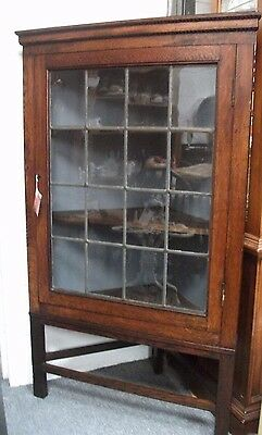 Victorian oak wall hanging corner display cupboard removable stand original key