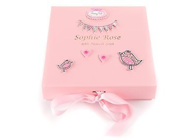 Personalised Baby Girl's Birth Keepsake Memory Trinket Box PINK Birds Design