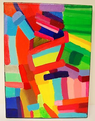 Original Oil Painting On Canvas Abstract Artwork Signed Lewis - Colour 2014