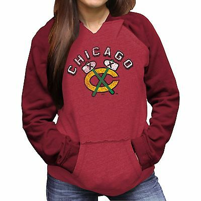 Womens Large Chicago Blackhawks Relaxed Pullover Hoodie M11
