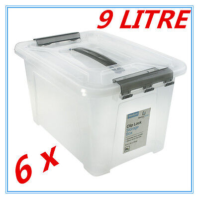 6 x Medium 9L Clip Lock Clear Plastic Storage Carry Box Handle Container Tub FD