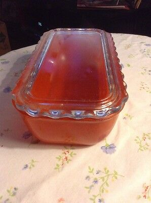 Antique Covered Glass Dish Red