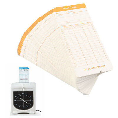 Office 100pcs Monthly Time Clock Cards For Attendance Payroll Recorder Timecards