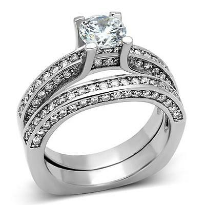 Silver Stainless Steel Simulated Diamond Engagement Ring Set Size 9 10 / R T