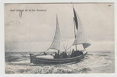 POSTCARD - Deal Lifeboat, off to the Goodwins, Kent