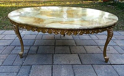 Louis XV style french marble top coffee table gesso apron ornate metal legs