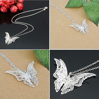 Chain Exquisite Silver Plated Jewelry Hollow Butterfly Necklace Pendant