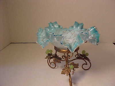 Antique Brides Basket Blue Spankle Ruffled Bowl Gold Stand - sweetmeat