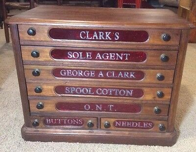 19th Century Clarks SPOOL Thread Counter Display Cabinet  Red GLASS 7 Drawer