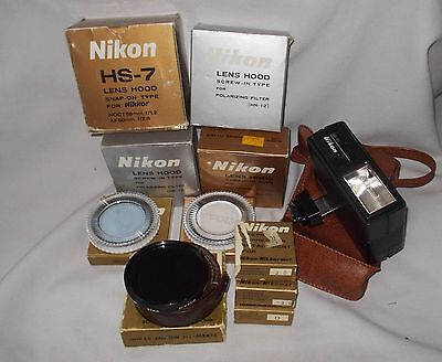 Collection of Vintage Nikon Shades, Filters, Flash & Diopters