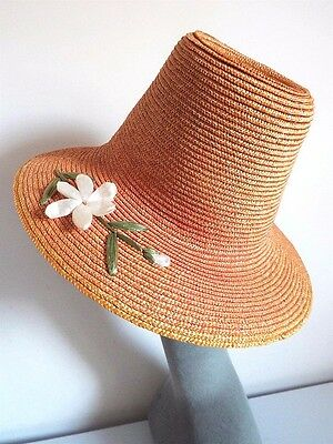 VINTAGE LADIES HAT 1950's  STRAW CONE SHAPED BRIMMED HT WITH TAFFETA FLOWER