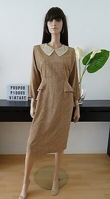 robe FORMAL marron fleurie beige col claudine taille 36 / uk 8 / us 4