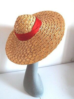 Vintage Ladies Hat Very Large Brim Woven Straw Cone Top With Red Banding