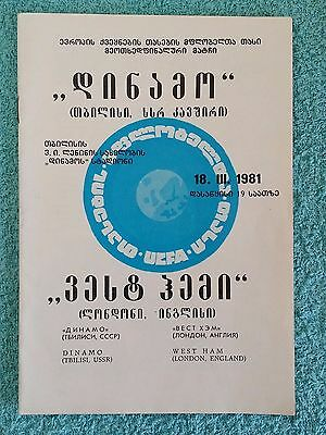 1981 - DINAMO TBILISI v WEST HAM PROGRAMME - CUP WINNERS CUP QTR FINAL 2ND LEG
