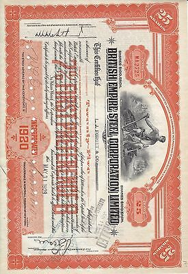 Stock Cert.: 1929, Canada, Punch Cancel, See Remart (S7263)