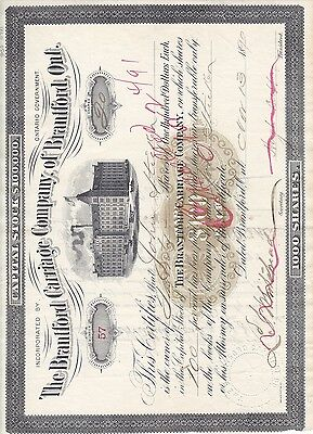 Stock Cert.: Canada, 1890, Red Cancel, See Remark (S7233)