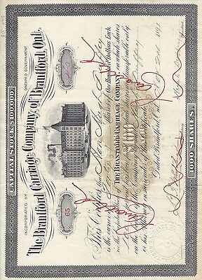 Stock Cert.: Canada, 1891, Red Cancel, See Remark (S7234)