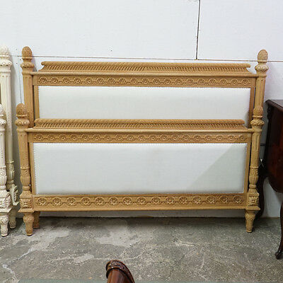 French Queen size bed headboard, rails and footboard unfinished raw wood