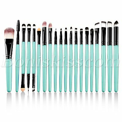 20tlg Professionelle Make-up Pinsel Set Kosmetik Pinsel Schminkpinsel Brush Grün