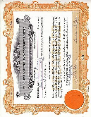 Stock Cert.: Dunlop Brothers & Co. Limited, 1969 (S7208)