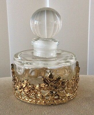 """Vintage Clear Glass Perfume Bottle with Ormolu Filigree 2"""" wide 2.25"""" high"""
