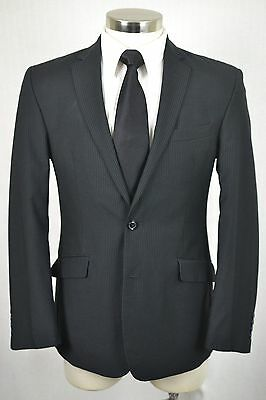 (40R) Billy London Men's Black Pinstripe SLIM Flat Front 2 Piece Suit (34x32)