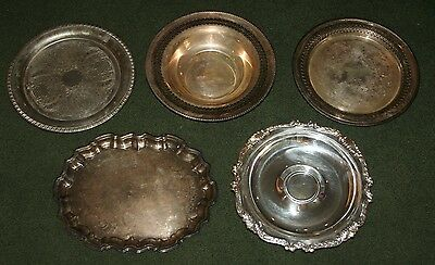 Lot of 5 Vintage Silver Plate Serving Trays & Bowl