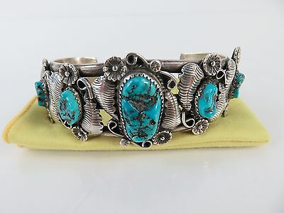 Vintage Navajo Sterling Silver Turquoise Eagle Feather Bracelet Cuff, c1950s
