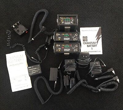 3x Quantum Battery 1 & 2 Battery Pack For Flashes With Charger And Accesories