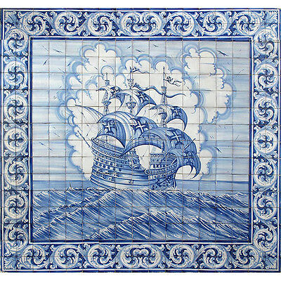 Portuguese Hand Painted Azulejos Tile Mural Panel AGES OF DISCOVERY SHIP VESSEL