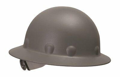 Fibre Metal Roughneck Gray Full Brim Fiberglass Hard Hat, Ratchet Suspension