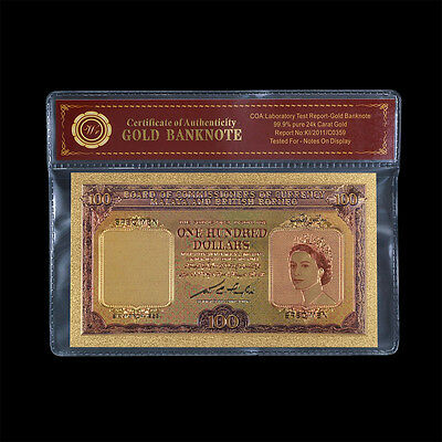 WR Colorized 1953 Malaya & British Borneo QEII $100 Gold Plated Dollar Banknote