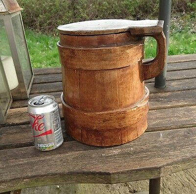 19th Century Oak+Pine Scandinavia Dry Storage Container, Tankard Shaped.