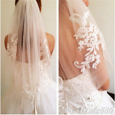 "SPECIAL White 1 Tier Applique Lace Rhinestone 37"" Long Fingertip Wedding Veil 8F"