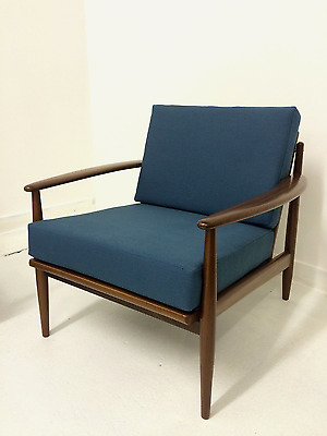 Mid Century Danish Teak Armchair Lounge Chair by Grete Jalk Teal Upholstery