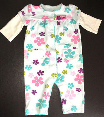 Carters Baby Girls 3 Months Multi-Color Flower Long Sleeve One-Piece Outfit