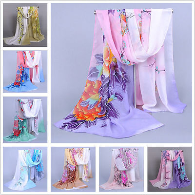 Women Lady Floral Chiffon Soft Neck Scarf Shawl Scarves Long Stole Wraps