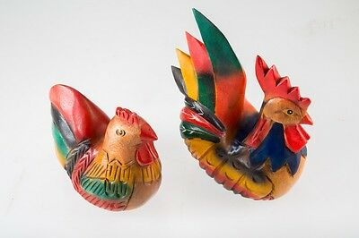 Wood Carved Chicken Figurine Pair Rooster Hand Painted Art Decor Collectible Hen