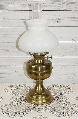 Authentic Antique Victorian Brass Double Wick Oil Lamp with White Glass Shade