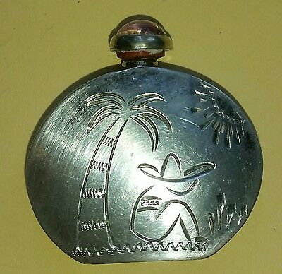 Vintage Etched MEXICO Silver 925 Perfume Bottle Fire Opal Stone Glass Top NICE