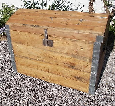wooden trunk, antique domed top trunk,French pine trunk, toy chest