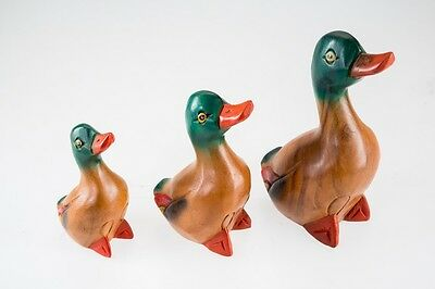 Duck Figurine Set Hand Painted Wood Carved Wooden Animal Statue Retro Decor Art